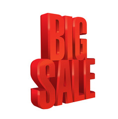 3d vector object of the word BIG SALE. Red text. Eps 10.