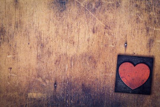 Single Heart Wooden Letterpress Type