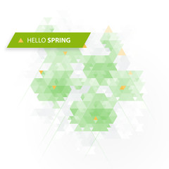Hello Spring Design. Geometric Background. Low poly flowers