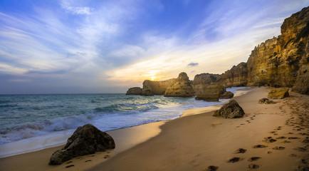 sunset in beautiful beach Praia da Marinha - Algarve, Portugal Wall mural