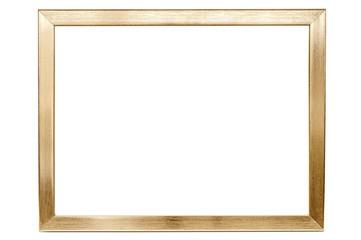 Golden aluminum empty photo frame on white background