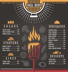 Grill menu restaurant template