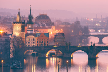 Top view over Old Town and bridges over Vltava River in Prague, Czech Republic