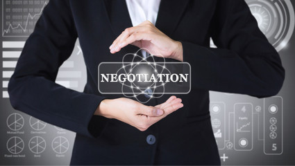 Business women holding posts in NEGOTIATION. Can be used in advertising.