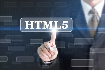 Businessman pressing HTML5 concept button. Can be used in advertising.