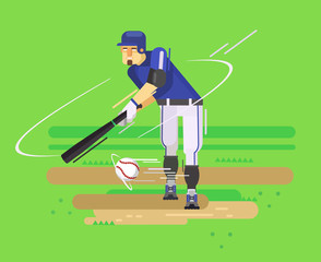 Baseball player. Vector flat illustration