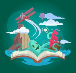 Fairy book. Vector flat illustration