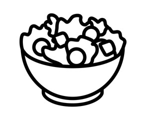 Garden salad with lettuce, tomatoes & bread crumbs line art icon for apps and websites