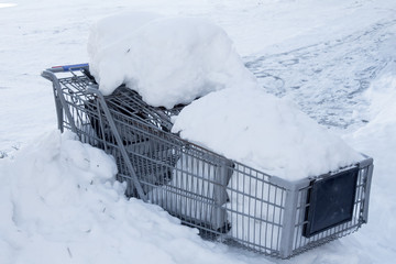 Shopping carts buried in snow