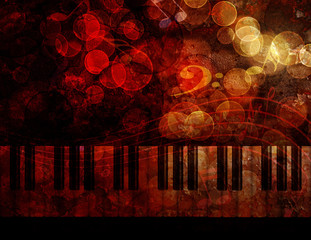 Piano Keyboard  Grunge Background Illustration