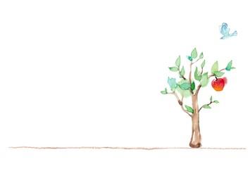 カード、木の成長、右