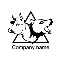 Logo with head of a bull and bear