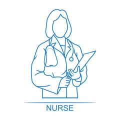 Medical woman nurse icon
