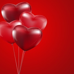 Happy Valentines Day, Red heart  balloons  colorful illustration
