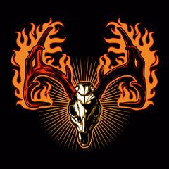 Deer skull on fire.