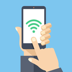 Wifi connection on smartphone screen. Flat design vector illustration