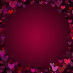 Valentine Hearts Vignette Frame Background