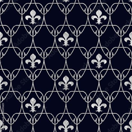Seamless Fleur De Lis Art Nouveau Scale Pattern With Silver Foil