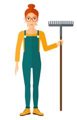 Farmer with rake.