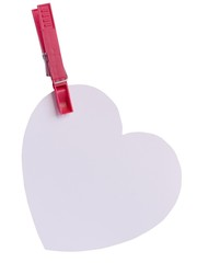 white empty cardboard heart hanging on clip