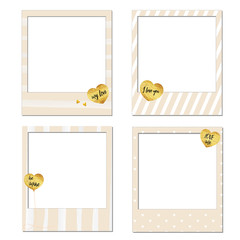 Set of vector photo frame template, Happy Valentine's day Polaroid frames gold foil texture heart shaped balloons background pink and white, with black text be mine, my love, love me and I love you.