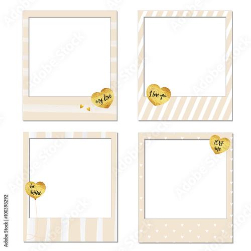 Set of vector photo frame template, Happy Valentine\'s day Polaroid ...