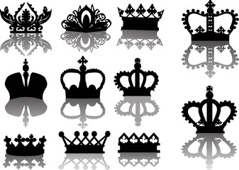 group of eleven black crowns with shadows