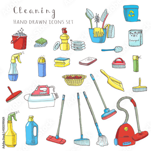 Hand Drawn Vector Cleaning Service Icons Set Clean Symbols Tools Detergent Broom