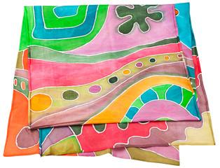 handmade batik silk scarf with geometric pattern