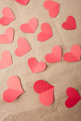 paper hearts on Valentine's Day