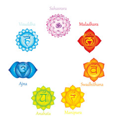 Chakras meaning poster. Concept   used in Hinduism, Buddhism and Ayurveda. For design, associated with yoga and India, Sahasrara, Ajna, Vissudha, Anahata,