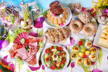 Garden Poster Assortment traditional easter breakfast on festive table