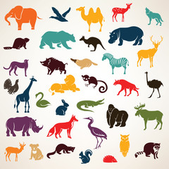 big set of african and european animals silhouettes in cartoon s