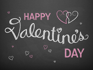 HAPPY VALENTINE'S DAY Card in hand-drawn font with hearts