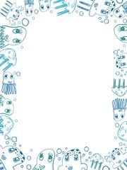 children's blue jellyfish drawings vertical frame
