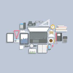 Flat design office worpkplace elements. Vector