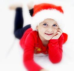 Junge mit weihnachts Mütze