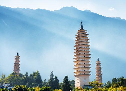 The Three Pagodas of Chongsheng Temple in Dali, China