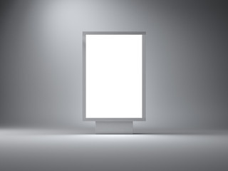 Silver lightbox in the empty studio. Gray wall background. 3d render