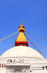 Bodnath stupa and prayer flags in Kathmandu, Nepal