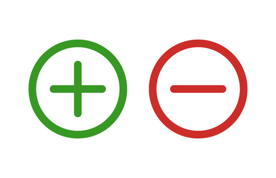 Plus and minus or add and subtract line art color icon for apps and websites.