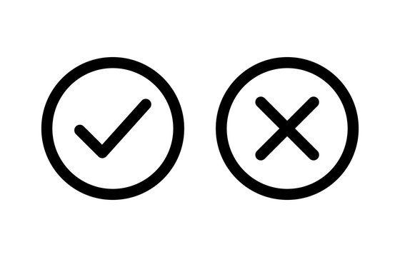 checkmark and x or confirm and deny line art icon for apps and websites.