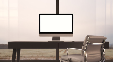 Concept of workspace with generic design computer, table and  armchair. 3d render