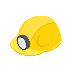 Helmet with flashlight 3d isometric icon