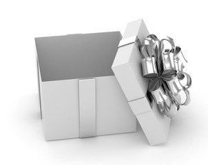 open gift box with bows isolated on white