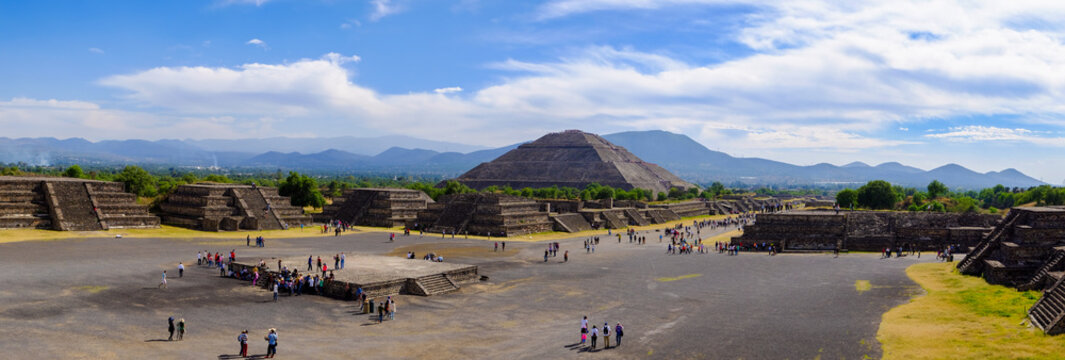 Panoramic view of Pyramid of the Sun and Avenue of dead, Teotihuacan, Mexico
