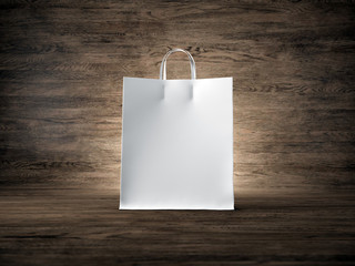 White craft shopping bag, wood background. Focus on the bag. 3d render