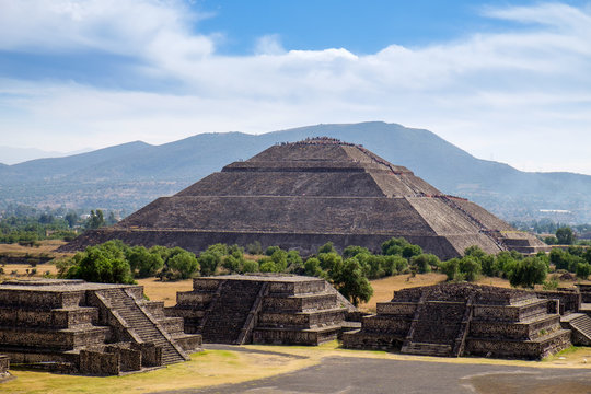 Scenic view of Pyramid of the Sun in Teotihuacan ancient Mayan c