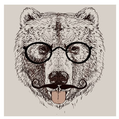 hipster portrait of bear with glasses