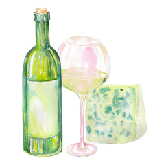 Image of the isolated watercolor wine bottle, blue cheese and glass of the white wine. Painted hand-drawn in a watercolor on a white background.
